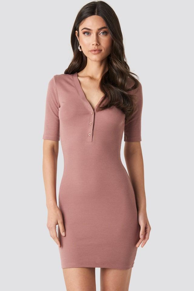 Sukienka Z Krótkim Rękawem Dusty Dark Pink