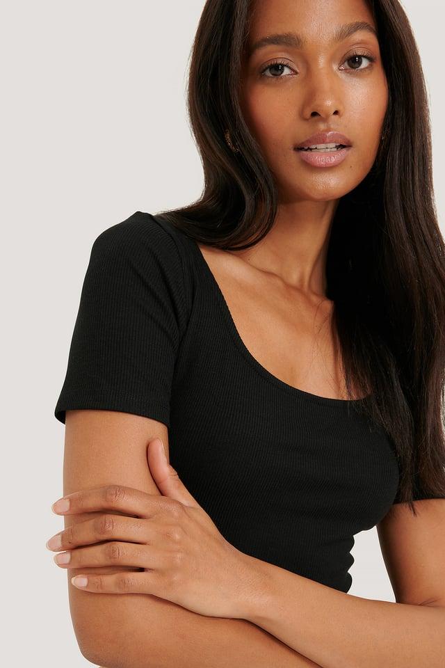 Ribbed Short Sleeve Top Black
