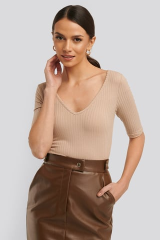 Light Beige Ribbed Short Sleeve V-neck Top