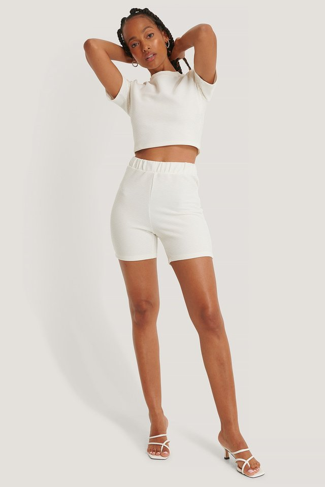 Ribbed Shorts Offwhite