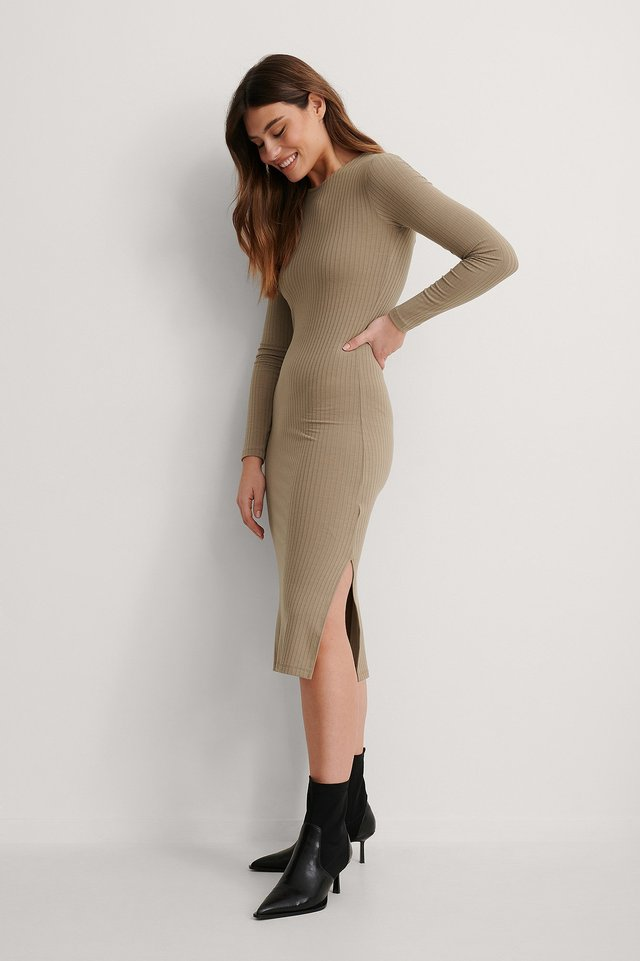 Nougat Ribbed Slit Dress