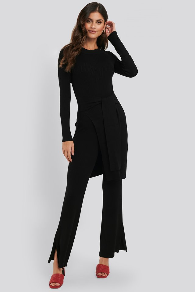Ribbed Slit Pants Black