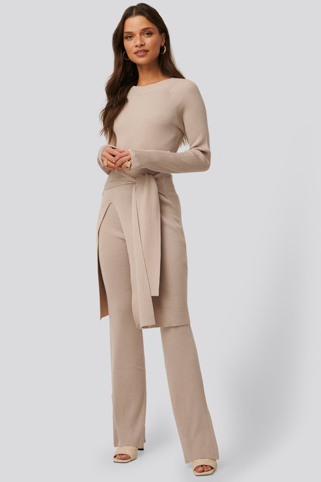 Ribbed Slit Pants Sand