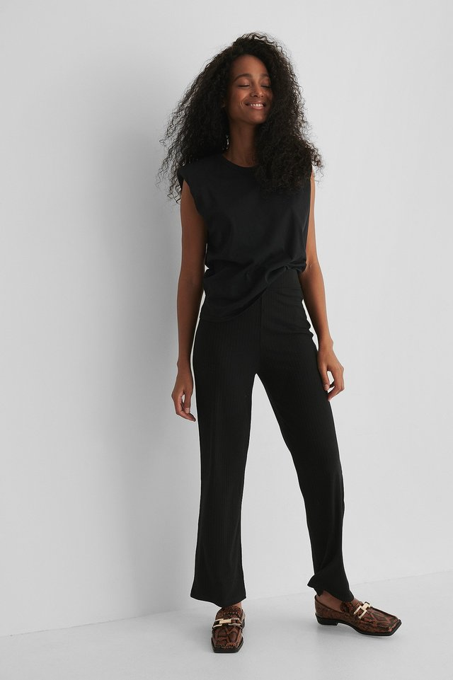Black Ribbed Straight Pants