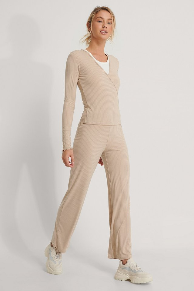 Beige Ribbed Straight Pants