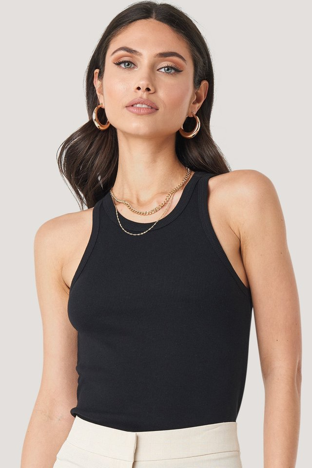Ribbed Tank Black