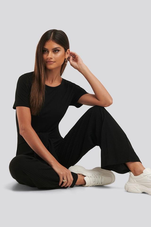 Combinaison Pantalon Côtelée À Taille Nouée Black