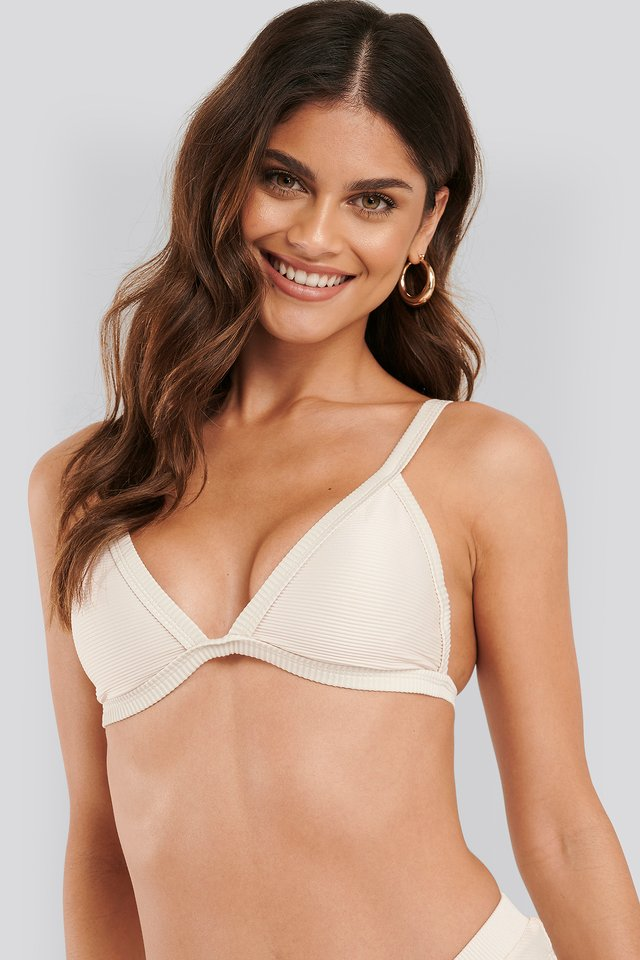 Offwhite Ribbed Triangle Bikini Bra