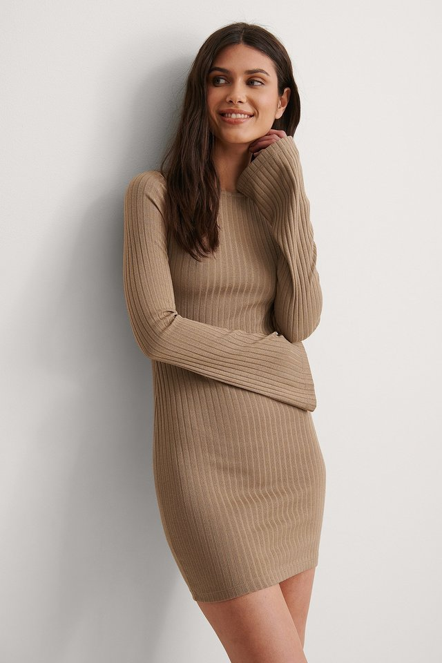 Beige Ribbed Trumpet Sleeve Dress