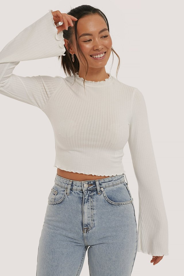 Ribbed Trumpet Sleeve Top Offwhite