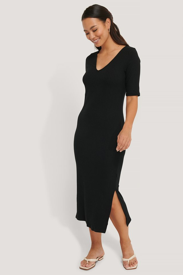 Ribbed V-Neck Jersey Midi Dress Black