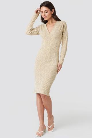 Beige Ribbed V-front Over The Knee Dress