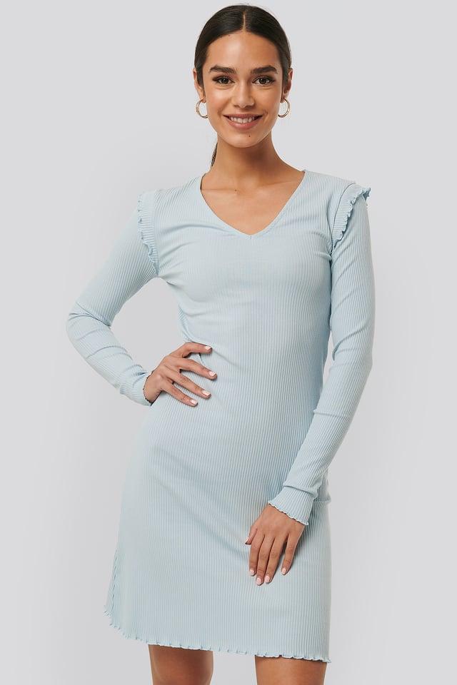 Light Blue Ribbed V Neck Shoulder Detail Dress