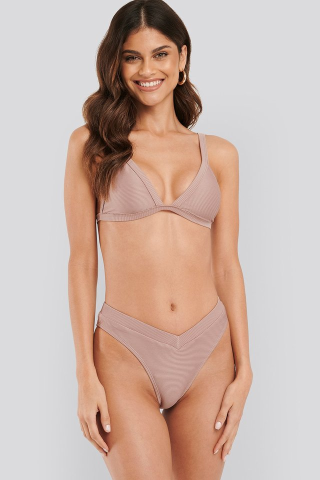 Ribbed V shape Bikini Bottom Dusty Pink