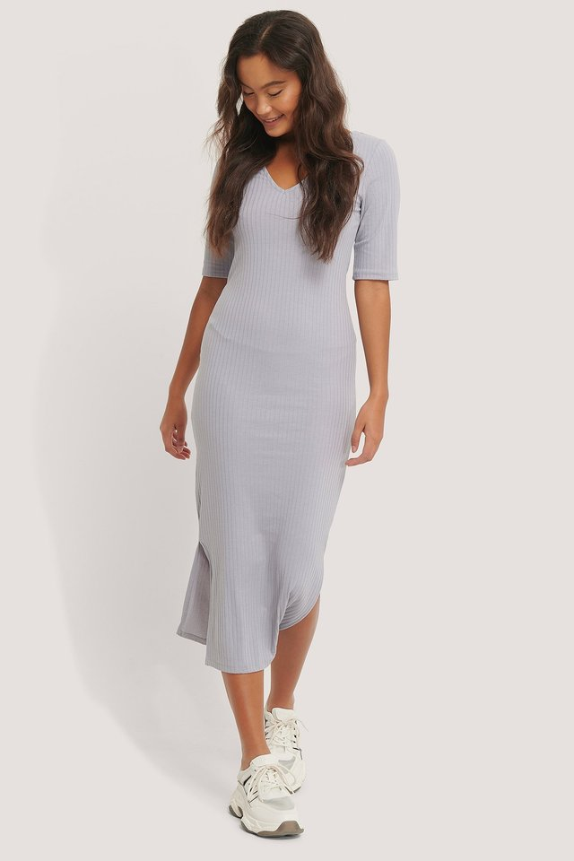 Ribbed V-Neck Jersey Midi Dress Purple