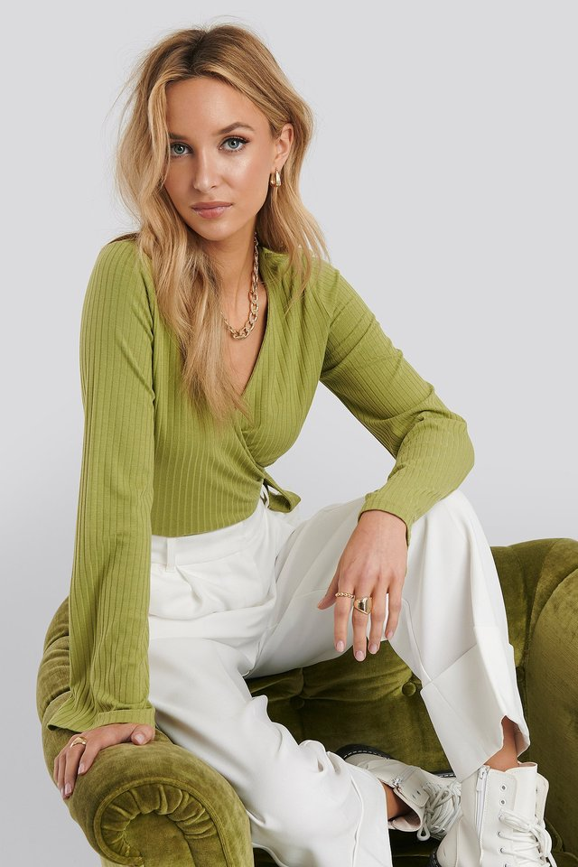 Ribbed Wrap Tie Top Olive Green