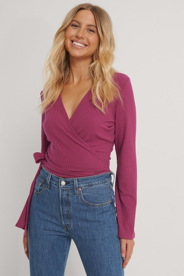 Ribbed Wrap Tie Top Dark Pink