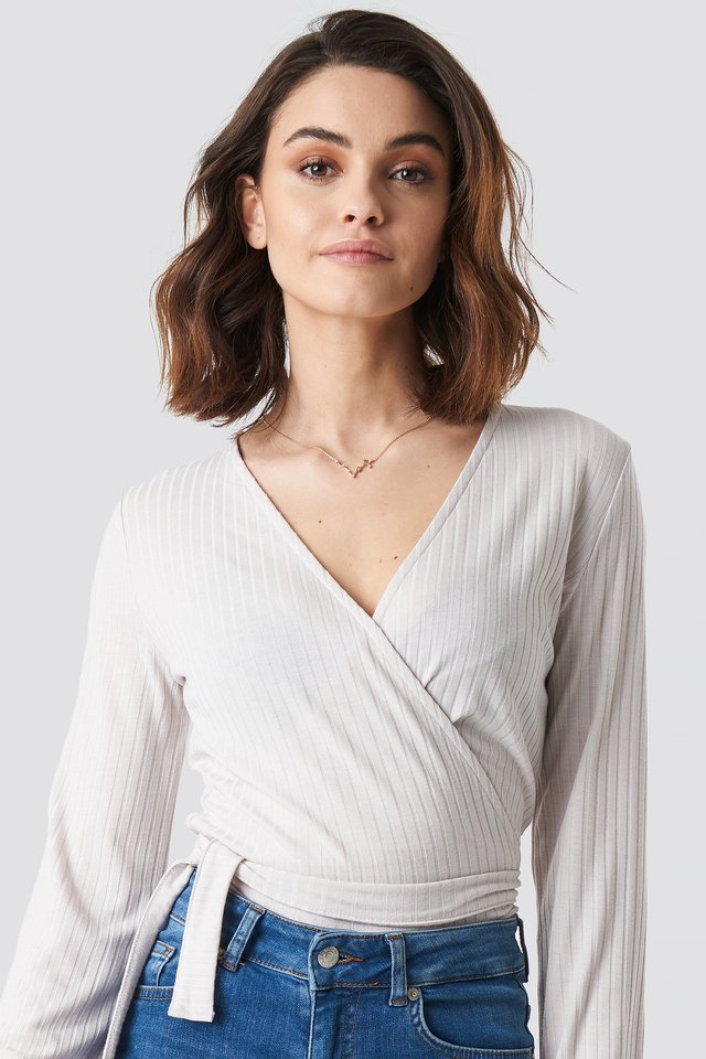 Ribbed Wrap Tie Top Beige