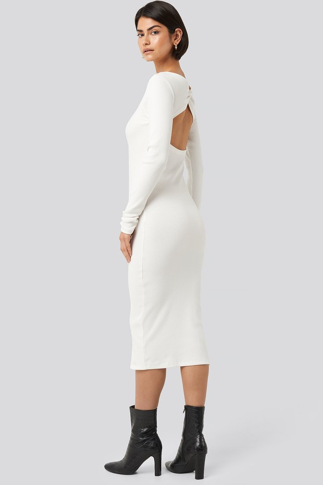 Ribbed Wrapped Back Dress Offwhite