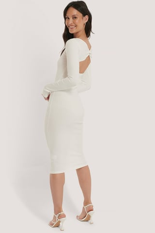 Offwhite Ribbed Wrapped Back Dress