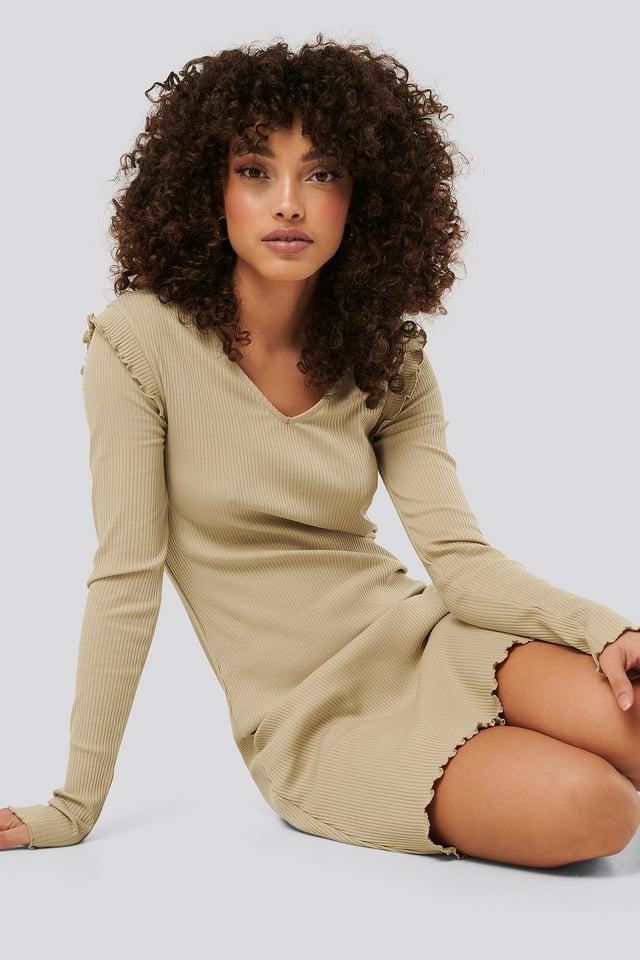 Ribbed V Neck Shoulder Detail Dress Beige