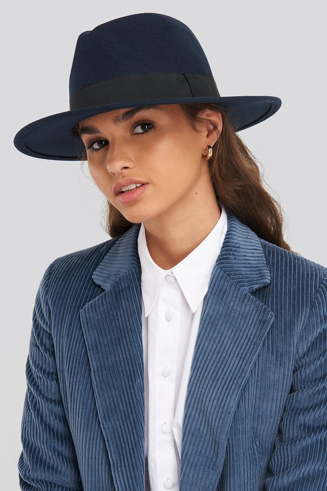 Ribbon Fedora Hat Dark Blue