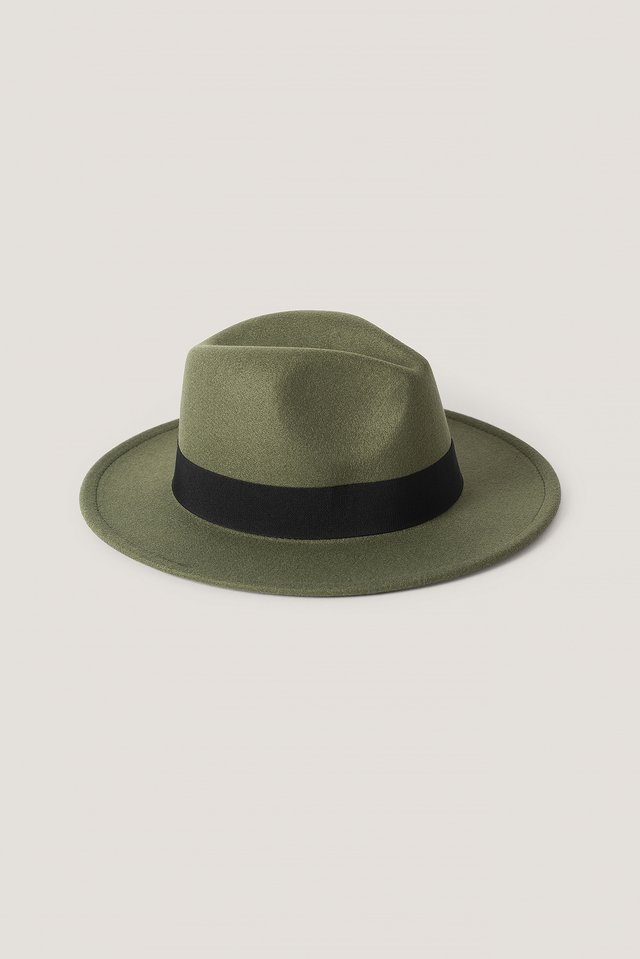 Ribbon Fedora Hat Khaki