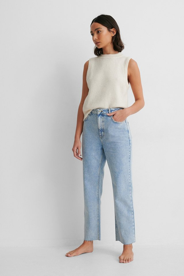 Light Blue Rigid High Waist Straight Cropped Jeans