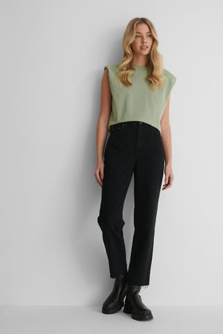 Washed Black Rigid High Waist Straight Cropped Jeans
