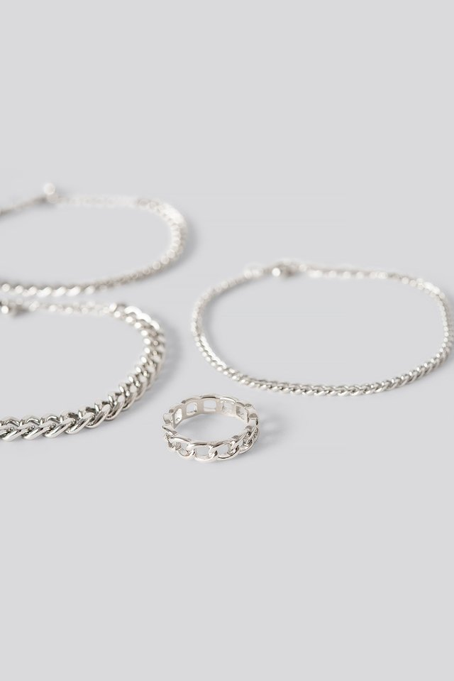Ring And Bracelets Chain Set Silver