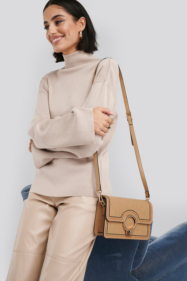 Beige Ring Closure Crossbody Bag