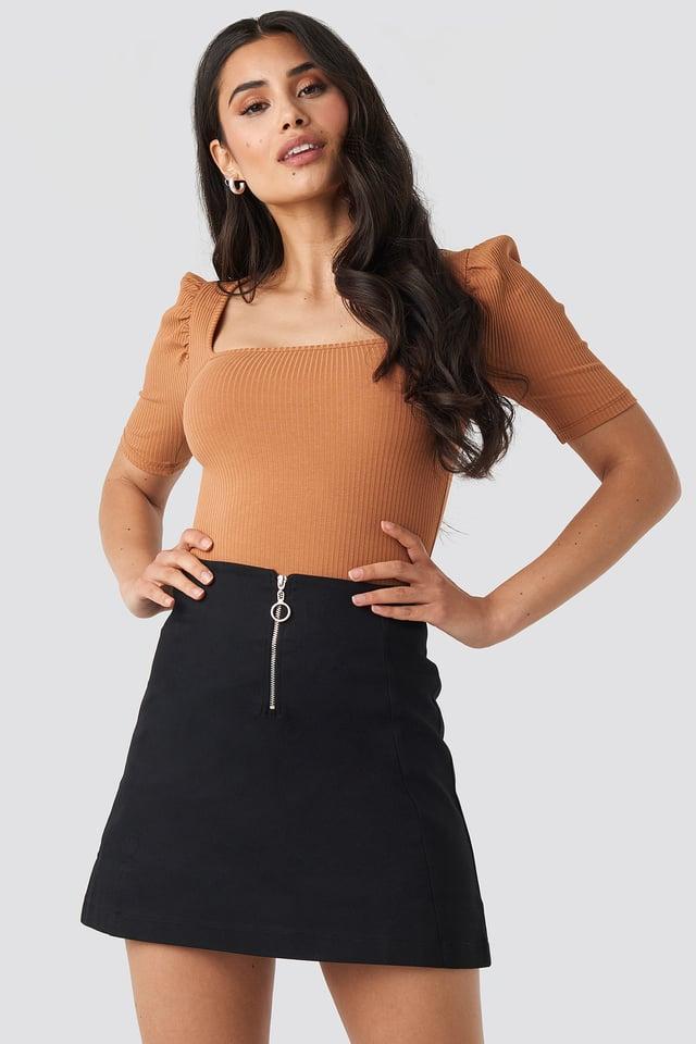 Ring Puller A-Line Mini Skirt Black