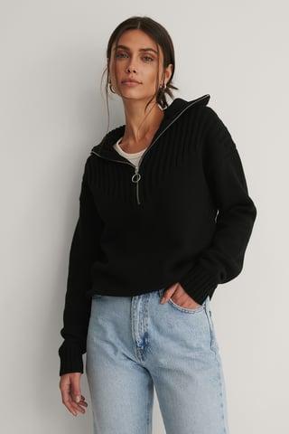 Black Recyklingowany Sweter Z Dzianiny
