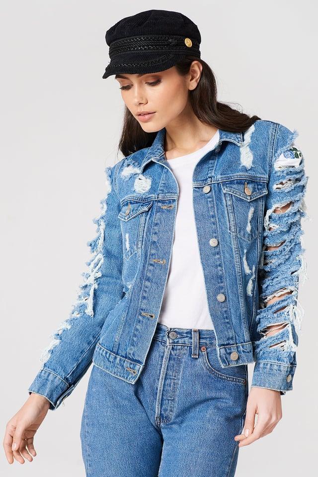 Ripped Denim Jacket Blue