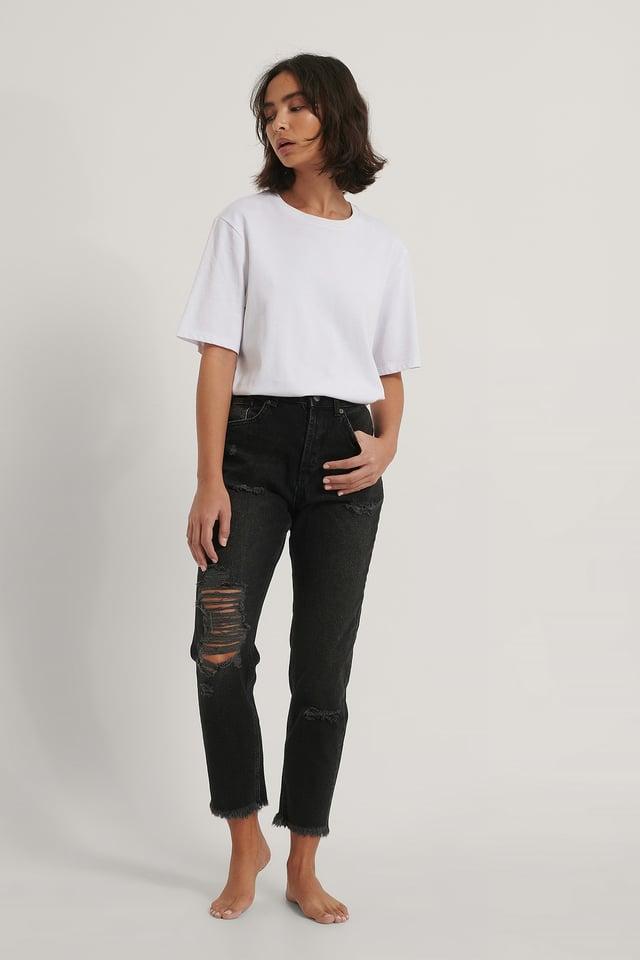 Black Organic Ripped Detail Mom Jeans