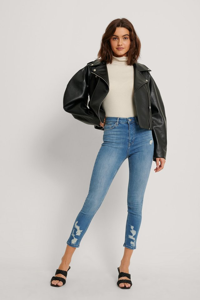 Ripped Hem Skinny Cropped Jeans Mid Blue