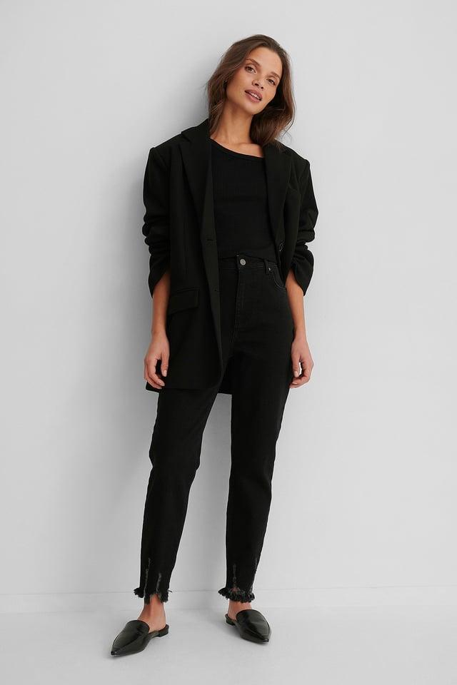 Black Ripped Hem Slim Fit Jeans