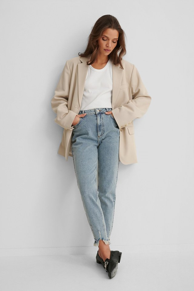 Stone Wash Organic Ripped Hem Slim Fit Jeans