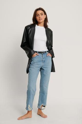 Light Blue Organic Ripped Hem Straight High Waist Jeans