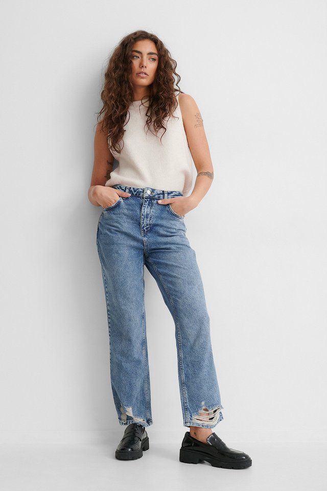 Mid Blue Ripped Hem Straight High Waist Jeans