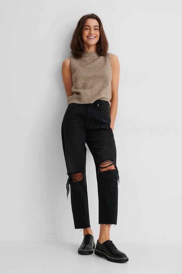 Black Organic Ripped Knee High Waist Jeans