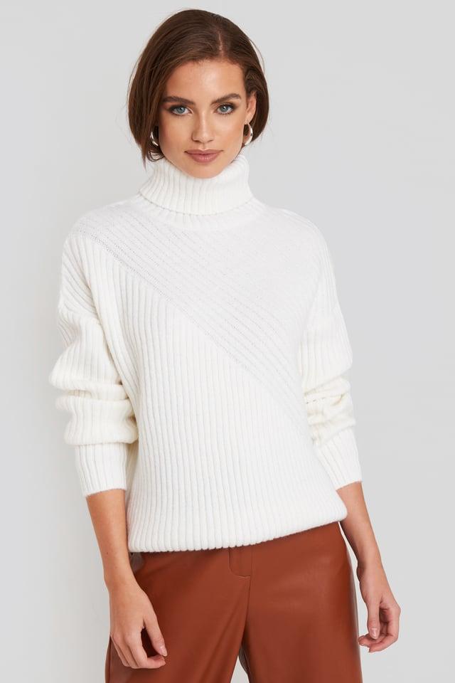 Off White Roll Neck Asymmetric Rib Sweater
