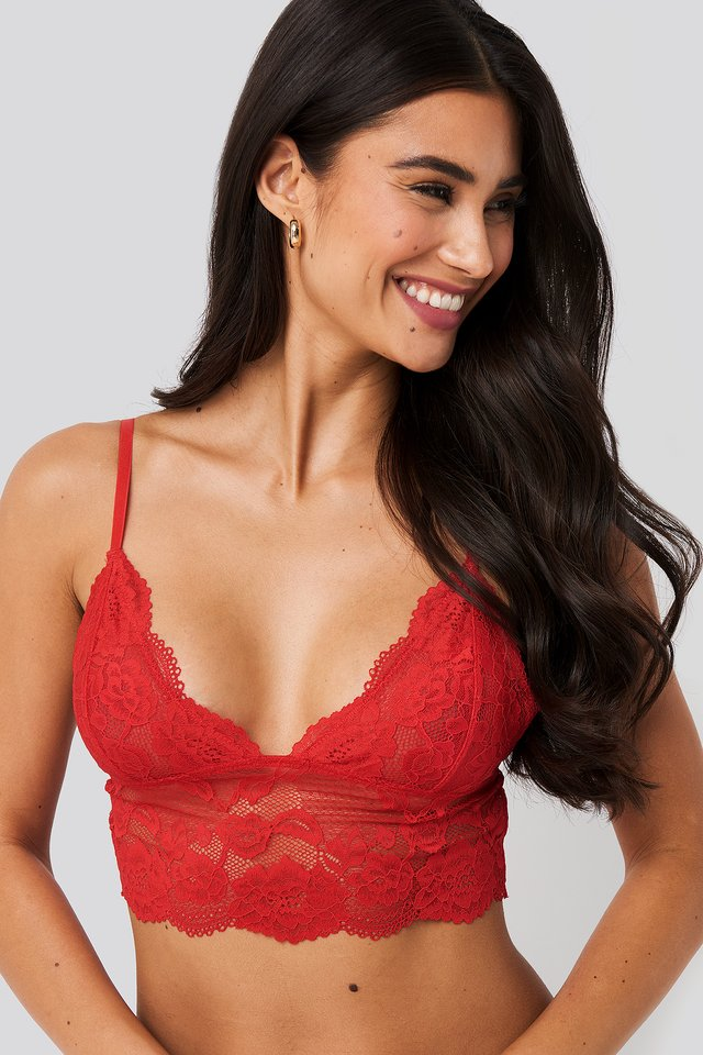 Romantic Wide Lace Bralette Red