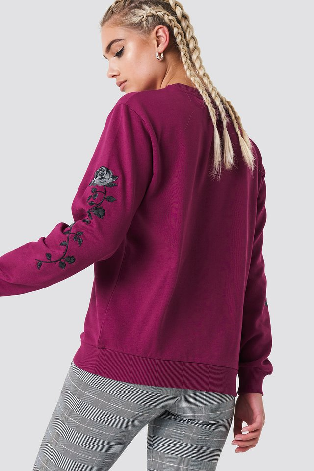Rose Embroidery Sleeve Sweater Burgundy