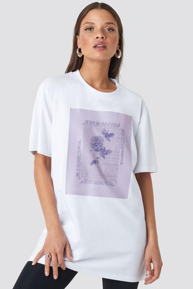 Rose Printed Tee White