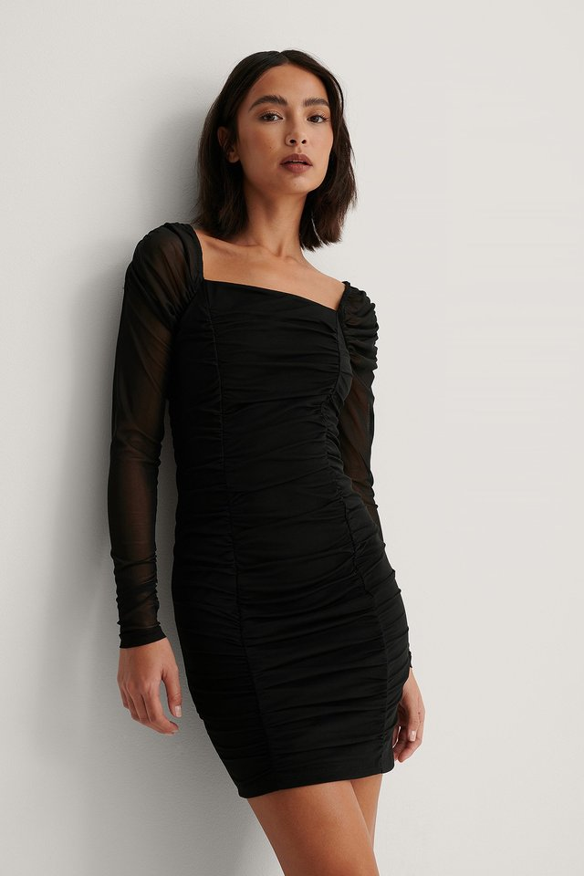 Rouched Mesh Dress Black