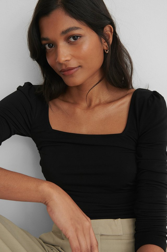 Black Rouched Square Neck Top