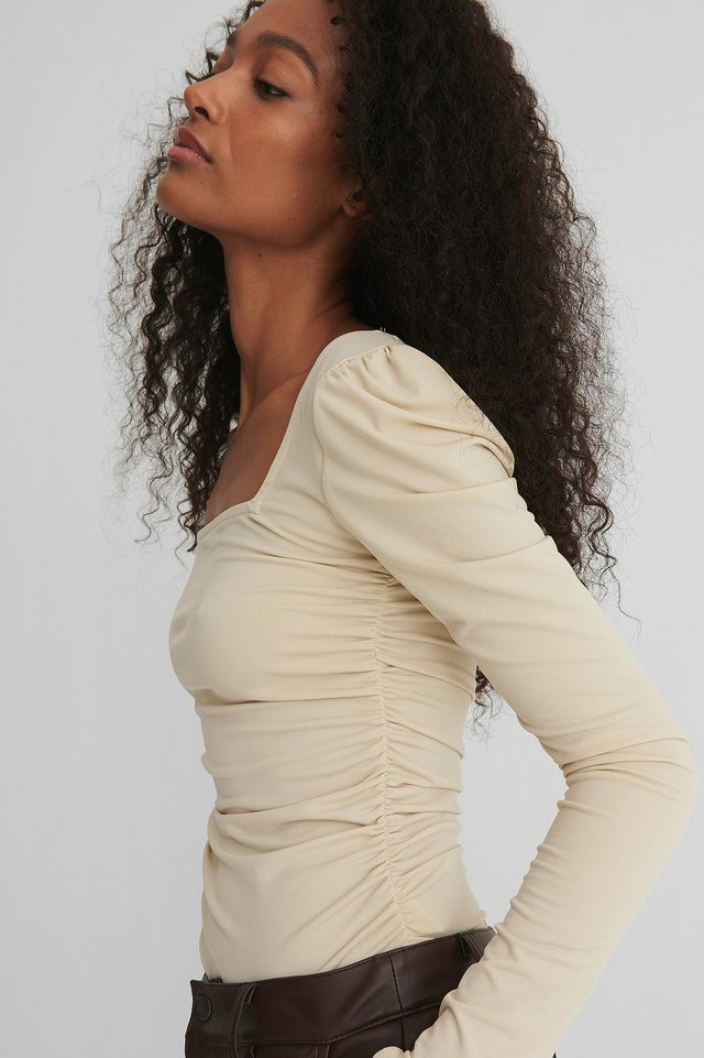 Beige Rouched Square Neck Top