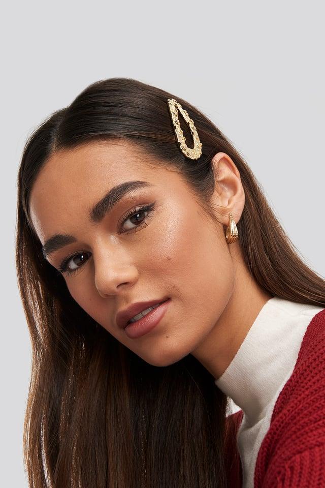 Rough Surface Hair Clip Gold