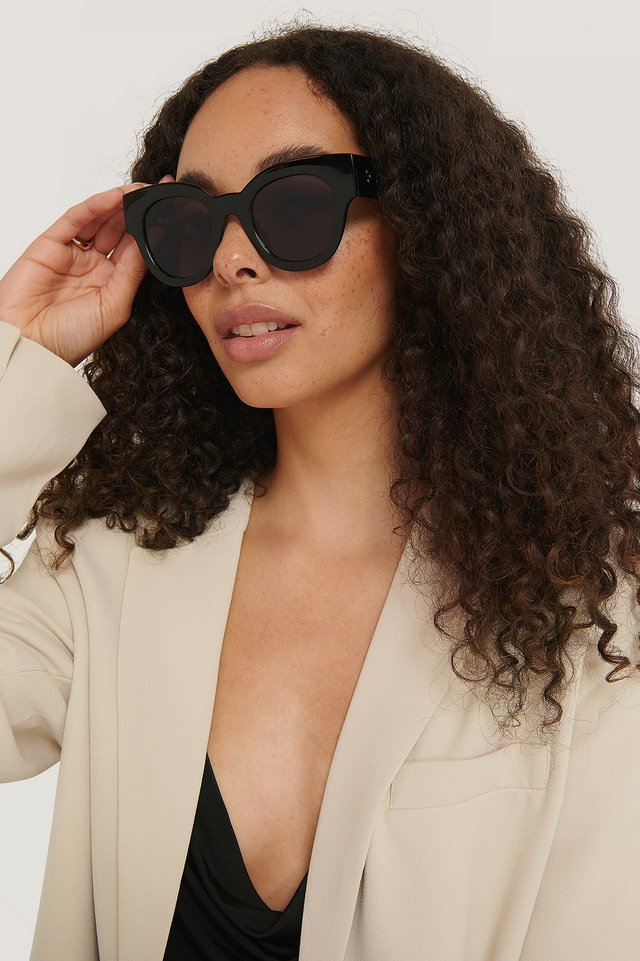 Round Chunky Cateye Sunglasses Black